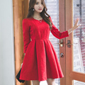 2016 Outono Inverno As Mulheres Se Vestem Novas Senhoras Vestido Elegante Do Vintage Manga Sopro de Cintura alta Vestidos de Festa Mulheres Sexy Red Mini vestido