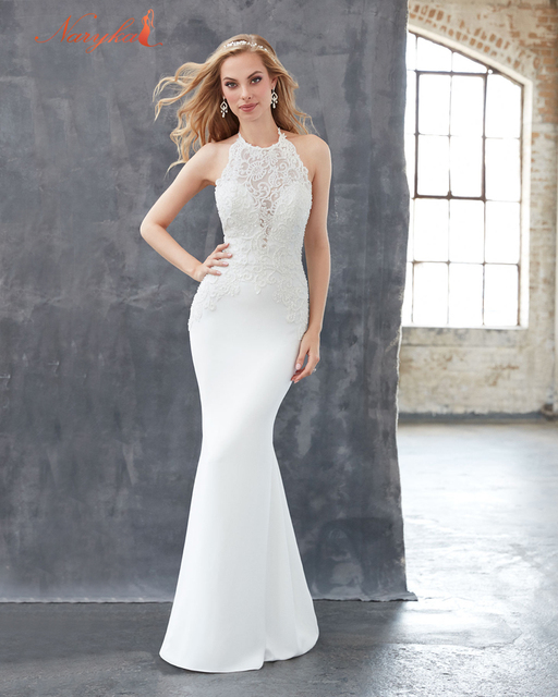 b5cdba82563 A Line Halter Neck Backless Lace Wedding Dresses Backless Lace Prom