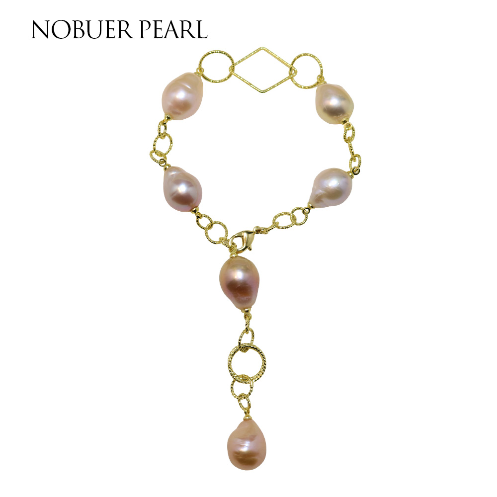 Nobuer Trendy 14KGF Baroque Pearl Strand Bracelets With Pink Baroque Pearls Bangles For Women As A Gift To A Party