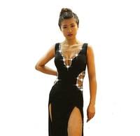 Sexy Women Latin Dance Performance Dress Lady Deep V neck Rhinestones Dresses For Ballroom Tango Dancing Competition Clothing