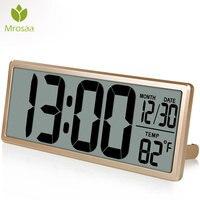Mrosaa 13.8 Large Digital Alarm Clock Jumbo Digital Wall Table Clocks LCD Display Alarm Snooze Calendar Indoor Temperature