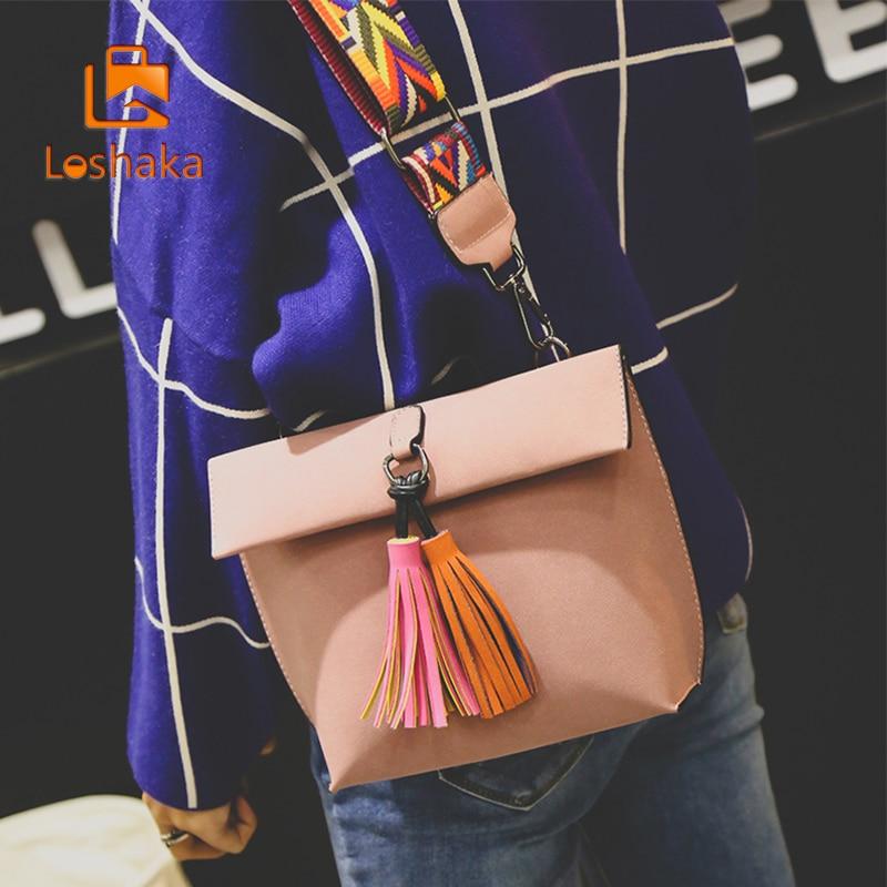 Loshaka 여성 메신저 백 Tassel 여성용 숄더 백 크로스 바디 백 여성 디자이너 핸드백 Bolsa Feminina Bolsos Mujer