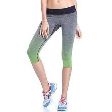 Women Breathable Yoga Sport Leggings Capri Pants Running Fitness Gym Sportswear Elastic Capris Gym Athletic Sports Leggings