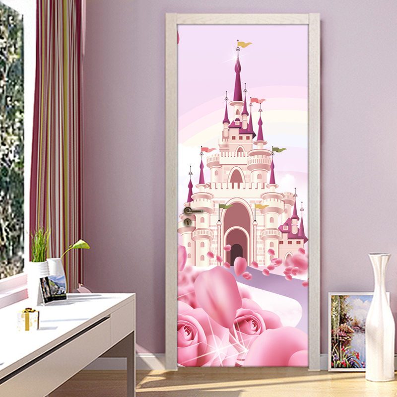 Cartoon Castle Pink Princess Room Girls Bedroom Door Sticker Mural Wallpaper PVC Waterproof Self-adhesive Papel De Parede 3D