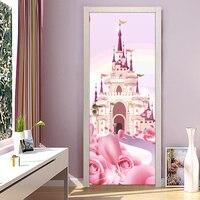 Cartoon Castle Pink Princess Ragazze Camera Da Letto Porta Sticker Murale Carta Da Parati del PVC Impermeabile autoadesiva Papel De Parede 3D