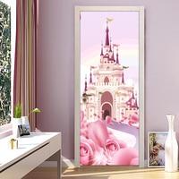 Castillo de dibujos animados Pink Princess Girls Room Puerta del Dormitorio Mural Sticker Wallpaper Impermeable de PVC autoadhesivo Papel De Parede 3D