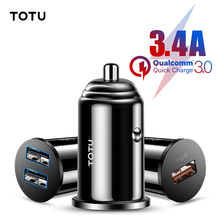 TOTU Quick Charge 3.0 USB Car Charger For iPhone xs Samsung Xiaomi Mini Dual USB Car Fast Charging Mobile Phone Charger Adapter scud car charger dual usb output 2 4a fast charging mobile phone travel adapter for iphone samsung galaxy xiaomi htc car charge