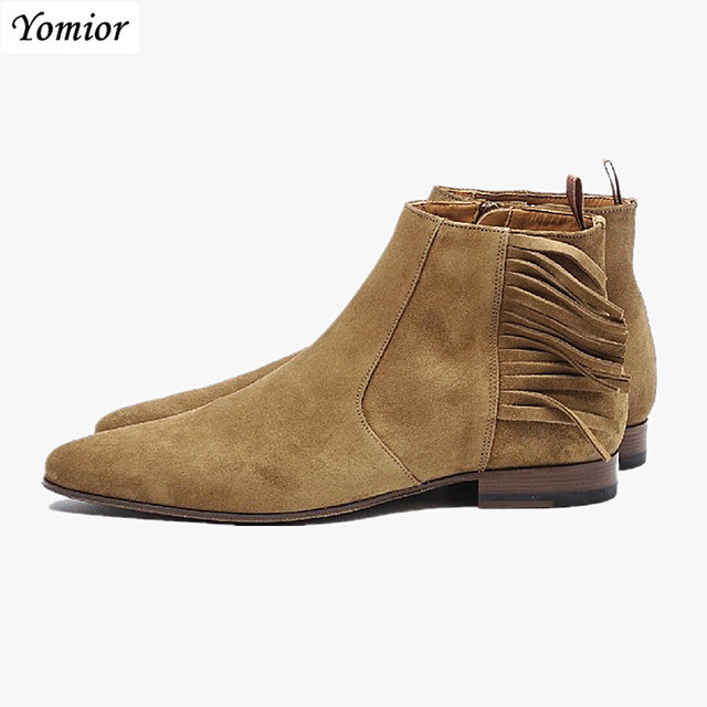 England Vintage Pointed Toe Men Casual Shoes Real Leather Cowhide Ankle Boots Tassel Dress Work Banquet Chelsea Boots Loafers