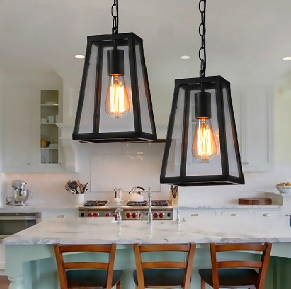 Nordic loft style retro pendant light fixtures vintage for Hanging light fixtures for dining room