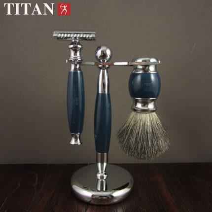 ФОТО 1Razor+1 Stand+1 Badger Brush Safety Razor Set Double Edge Classic Manual Men Shaving Kit Gift Package