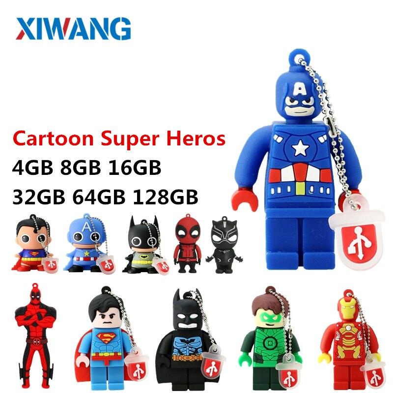 New Mini Cartoon Super Heros USB Flash Drive 128GB 64GB 32GB PenDrive 16GB 8GB 4GB Batman Superman Pen Drive flash memory stick-in USB Flash Drives from Computer & Office