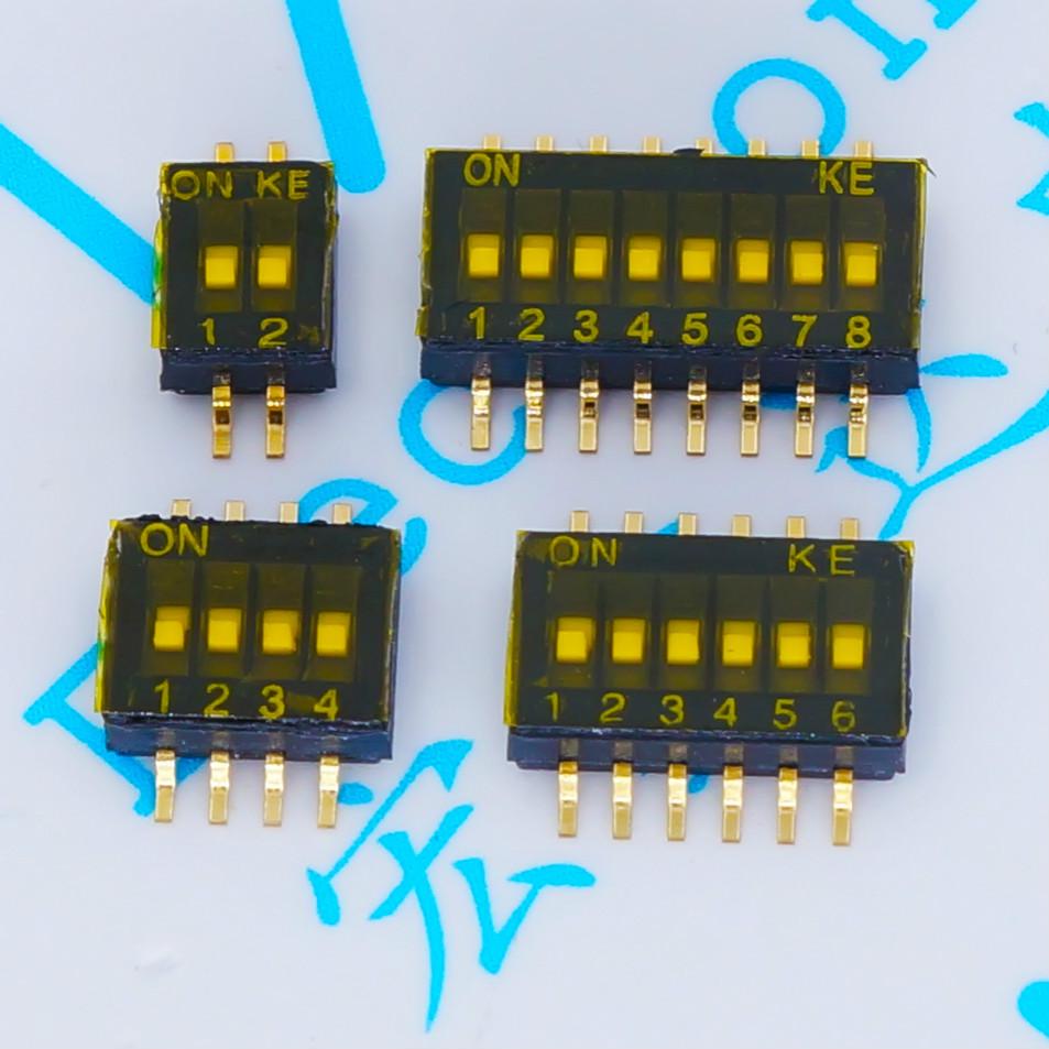 10 шт. x Переключатель SMD SMT типа слайд 1P 2P 3P 4P 5P 6P 8P 1,27 мм позиционный путь DIP черный переключатель с черным шагом