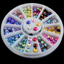1 Box DIY Crystal Glitter Rhinestones Nail Art Wheel 3D Decoration White AB Color Diamond
