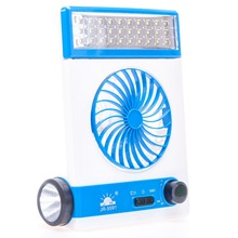 4 in 1 Portable Mini Solar Light Blue Fan Solar Energy Min Electric Fans 30 LED With Flashlight Rechargable Lamp wholesale