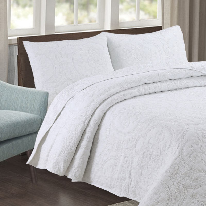 US 30 OFF CHAUSUB Plain White Bedspread Quilt Set 3PCS Coverlet Embroidered Cotton Quilts Bed Cover Sheets Pillowcase King Queen Size In
