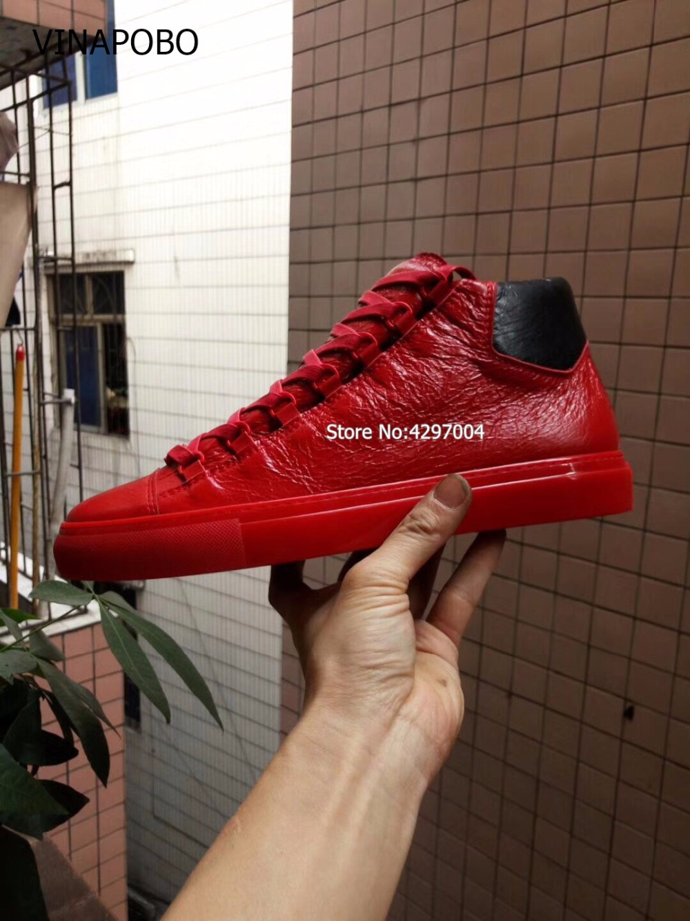 Vinapobo Big Size 38 46 Shoes Men Sneakers red leather Men Boots SuperStar Hip Hop Shoes