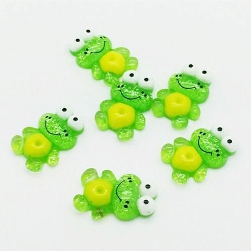 10pcs 16*24mm Frog Flatback Scrapbooking Resin Cabochons Craft DIY New Multicolor