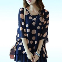 2019 Summer Women Korean Loose Office Lady Blouse Sweet Beach Ruffles Shirts Flare Sleeve Polka Dot Chiffon Blouse Tops
