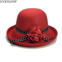 Luckylianji Ретро Для женщин женский шерсть Фетр британский стиль цветок группа Cloche ведро Roll Up Брим шляпа-котелок (56-58 см, регулируемый)