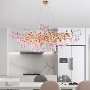 Modern Crystal Copper Chandelier Lighting Fixture Luxury Brass Chandeliers Glass Drop Pendant Hanging Light for Home Restaurant white glass crystal chandelier led light fixture home decorations chihully style hand blown modern chandelier light