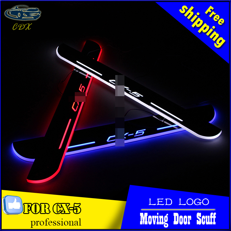 Car Styling LED Moving Door Scuff for Mazda CX-5 2013 2014 2015 Door Sill Plate LED Welcome Pedal LED Brand Logo Drl Accessories