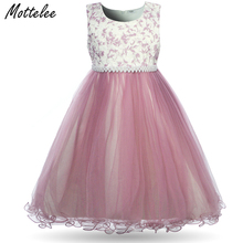 Mottelee Elegant Girls Dress Formal Kids Flower Dresses for Wedding Party Princess Beading Ball Gown 2018 Children Pearls Frock flower dress girl costume toddler kids dresses for girls night ball gown children dot printed princess wedding party frock dress