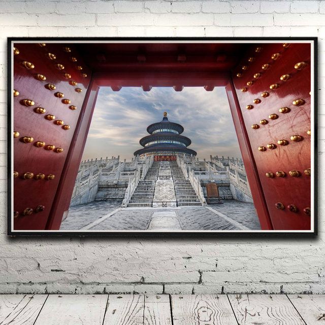 Asian Architecture Old Building Red Art Silk Poster Home Decor Pictures 12x19 15x24 19x30 22x35 Inches