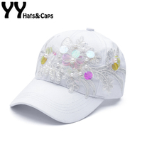 Cotton Caps Women Summer Fitted Cap Handmade Sequins Snapback Hats FASHION Pearl Baseball Caps Floral HAT