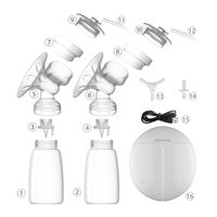 Electric Breast Pump with Milk Bottle Lactation Suck USB Breast Enlargement Pump with Message Heating Pads & Feeding Nipples