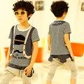 Новый летний мальчик Комплектов Одежды искусственного двух частей полосатый с коротким рукавом Футболки шаровары Одежда Наборы