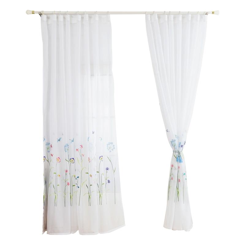 Marocain brodé Semi voilage rideaux Tulle rideaux pour chambre fenêtre 2 m x 2.1 m 2 panneaux blanc