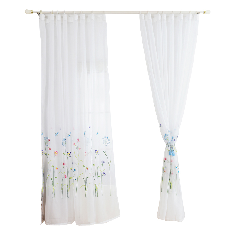 Moroccan Embroidered Semi Sheer Curtains Tulle Curtains