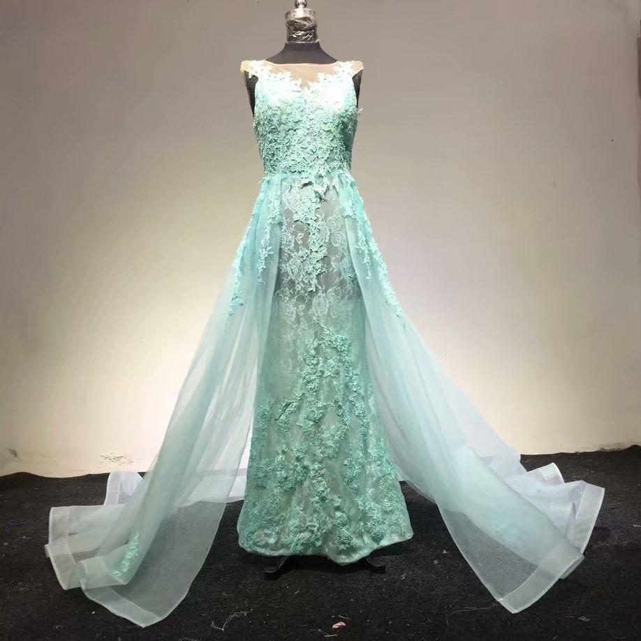 Hote sale O Neck cap sleeve Applique Watteau train Organza Light green Evening Dresses