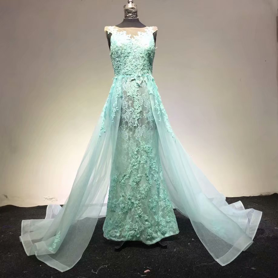 Hote vente o cou cap manches appliques Watteau train Organza vert clair robes de soirée
