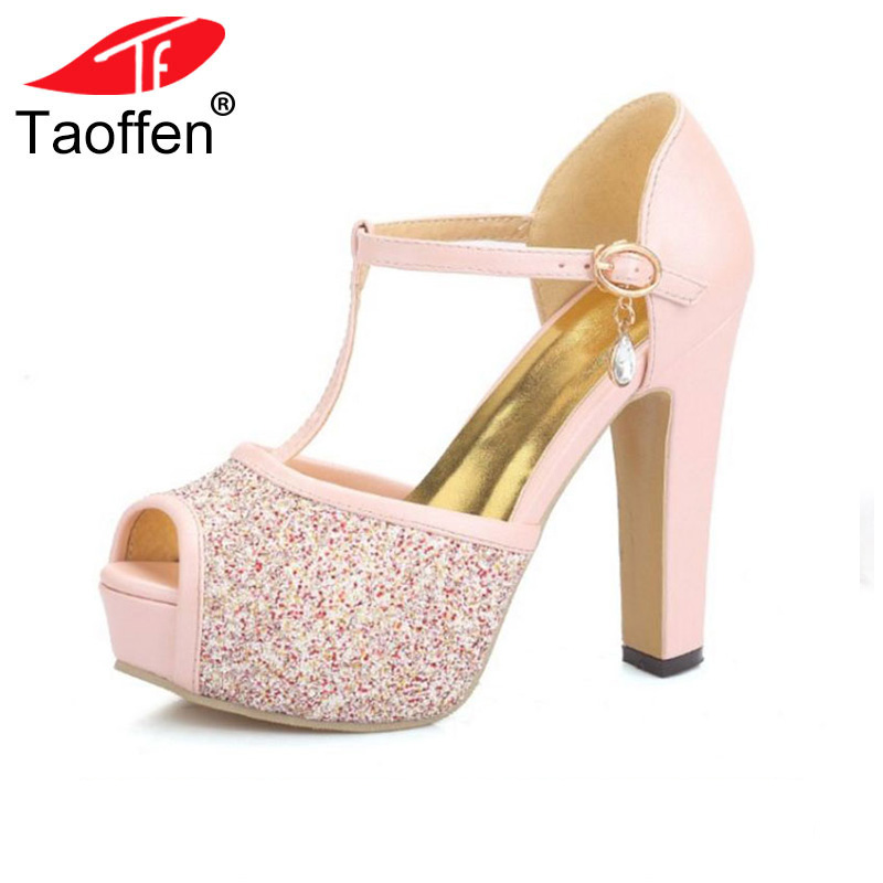 TAOFFEN women quality high heel sandals fashion dress sexy shoes platform heels pumps P13878 Hot sale EUR size 32-43 anmairon shallow leisure striped sandals women flats shoes new big size34 43 pu free shipping fashion hot sale platform sandals