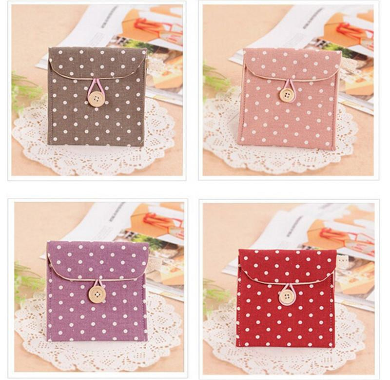 1pcs Polka Dot Organizer Bags Female Hygiene Sanitary Napkins Package Small Cotton Cosmetic Bag For Make Up Portable Purse Case