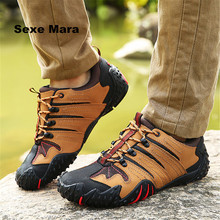 Men outdoor hiking shoes Leather breathable Sneakers waterproof font b oxford b font Sport shoes non