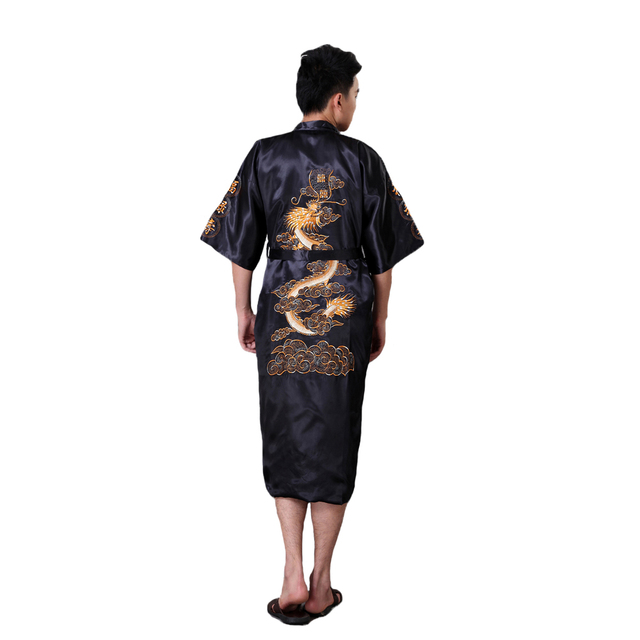 70dff0bd8d Summer Male Robe Gown Hot Sale Silk Satin Sleepwear Kimono Gown Black Chinese  Men Embroidery Dragon Robe Nightgown Plus Size 3XL