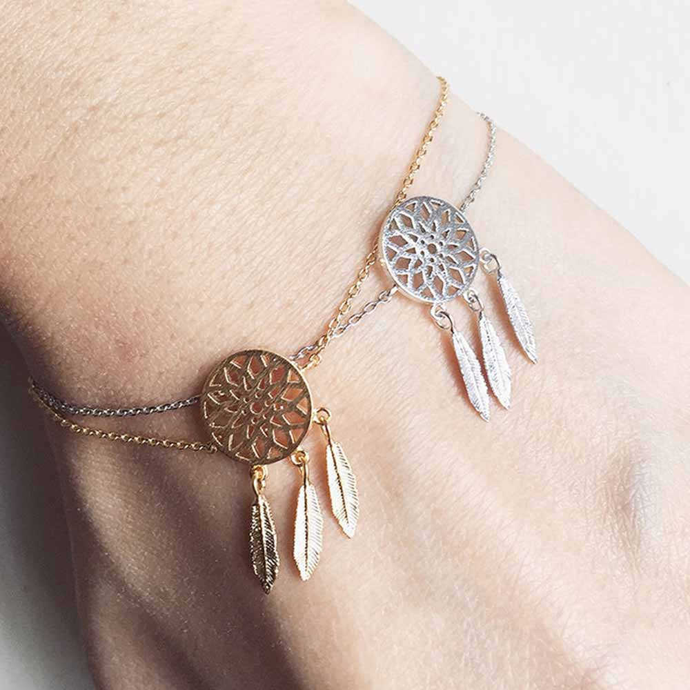 New Fashion Gold Silver Color Dreamcatcher Bracelet For Women Delicate Hollow Feather Charm bracelet Dream Catcher Jewelry
