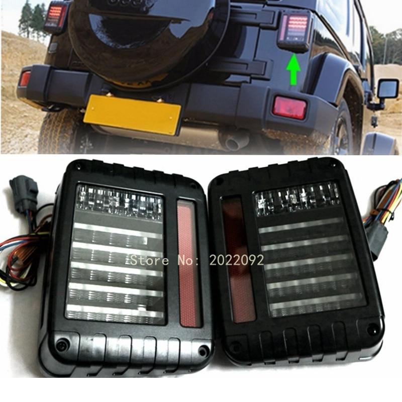 Black LED Rear Tail Light Brake Turn Signal Reverse Pair for 07-16 Jeep Wrangler JK car styling tail lights for toyota highlander 2015 led tail lamp rear trunk lamp cover drl signal brake reverse