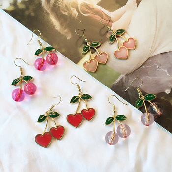 2019 Korea New Cute Little Fresh Love Cherry Earrings Enamel Cherry Long Drop Earrings Women s.jpg 350x350 - 2019 Korea New Cute Little Fresh Love Cherry Earrings Enamel Cherry Long Drop Earrings Women's Jewelry Pendientes Jewelry Gifts