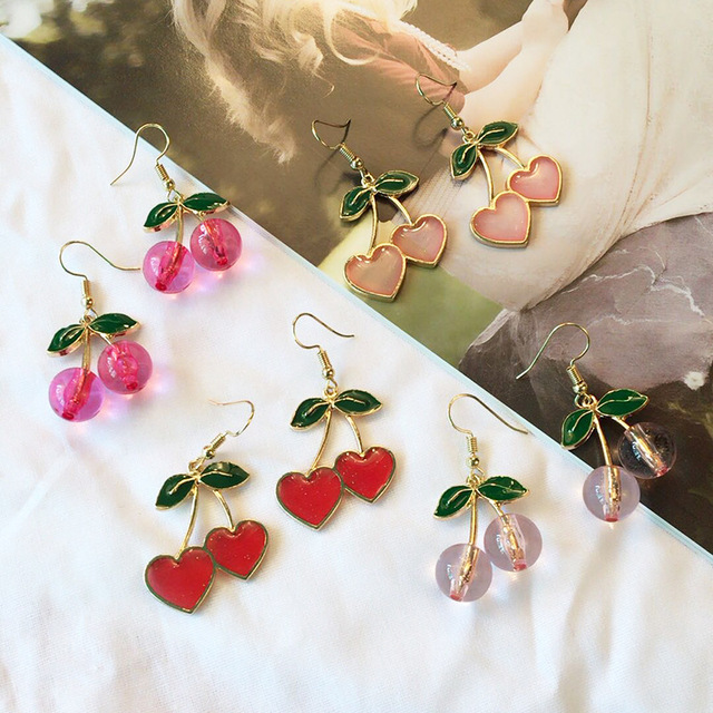 2019 Korea New Cute Little Fresh Love Cherry Earrings Enamel Cherry Long Drop Earrings Women s.jpg 640x640 - 2019 Korea New Cute Little Fresh Love Cherry Earrings Enamel Cherry Long Drop Earrings Women's Jewelry Pendientes Jewelry Gifts