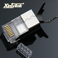 Xintylink conector rj45 cable ethernet enchufe cat7 cat6a macho red metal blindado 50u cat 7 8P8C stp lan terminales modulares