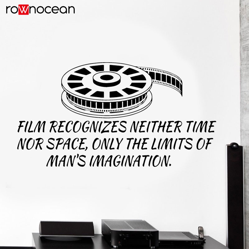 Film Quote Vinyl Wall Decal Cinema Movie Lover Filmstrip Stickers Mural Studio Decor Interior Black Wallpaper Removable 3R28 in Wall Stickers from Home Garden