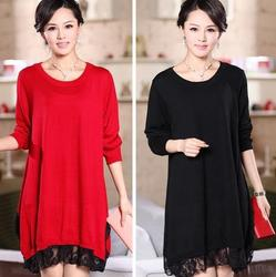 loose plus size clothing knitted one-piece dress medium-long maternity lace wool basic shirt 1