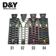 Free shipping-Unisex Clip-on Braces Elastic Suspender 2 colors mix Mustache Y- back Suspenders
