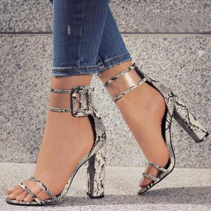 Woman Sandals Buckle-Strap Wedding-Shoes Square Party High-Heels Sexy Fashion Pu