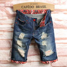 2019 Summer New Top Men Jeans Shorts,Blue Color Fashion Designer Short Ripped Jeans For Men Denim Shorts Knee Length Hole Jeans slim straight hole ripped short jeans for men denim summer short men jeans new high quality cotton fashion casual new brand