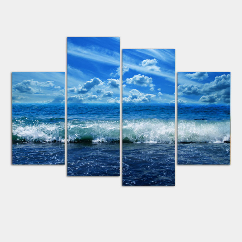 4 Pieces Paintings Modular Paintings Sky Clouds Wall Art Picture Modern  Home Decoration Gifts Multi Panel