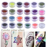24 Colors 3D Colorful Glitter Powder Body Tattoo Art Paint Set Fancy Women Body Art Design DIY Henna Stencil + Brush+ Glue Kit